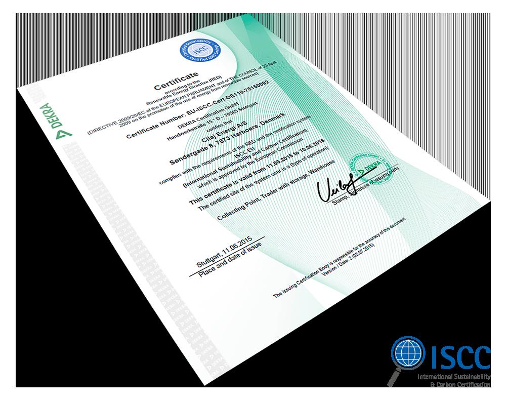 ISCC certifikat